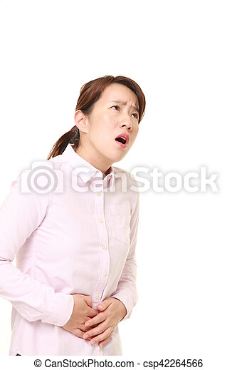 middle aged Japanese woman suffers from stomachache - csp42264566
