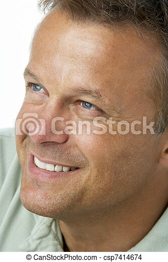 Middle Aged Man Smiling - csp7414674