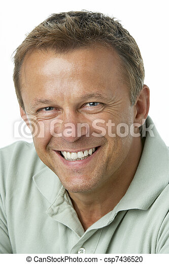 Middle Aged Man Smiling - csp7436520