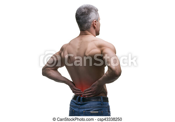 Middle aged man with back pain, muscular male body, studio isolated shot on white background - csp43338250