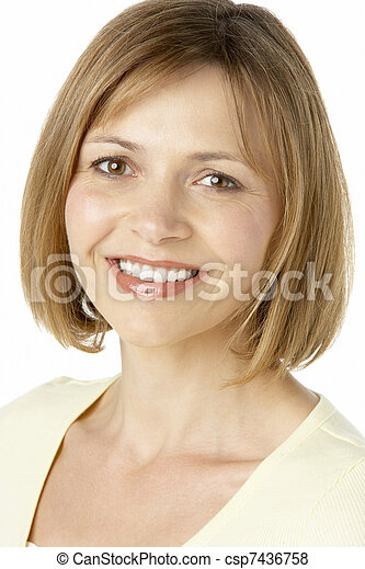 Middle Aged Woman Smiling - csp7436758