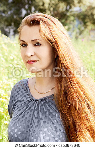Middle Aged Woman With Long Hair Pretty Middle Aged