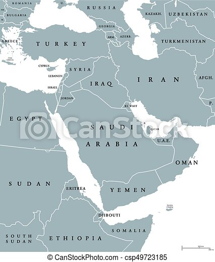 Middle east political map with borders and english labeling ...