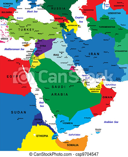 Middle east political map with each country selectable independently.