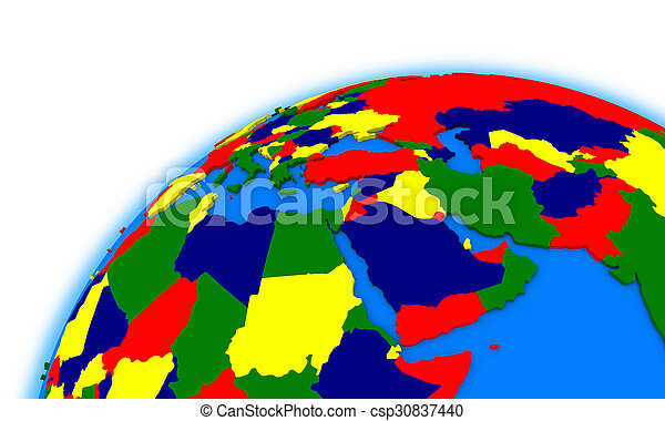 Middle East Region On Globe Political Map Middle East Region On