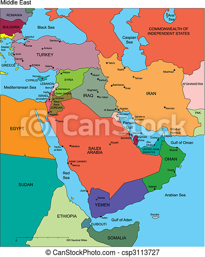 Middle east with editable countries, names. Middle east regional map ...