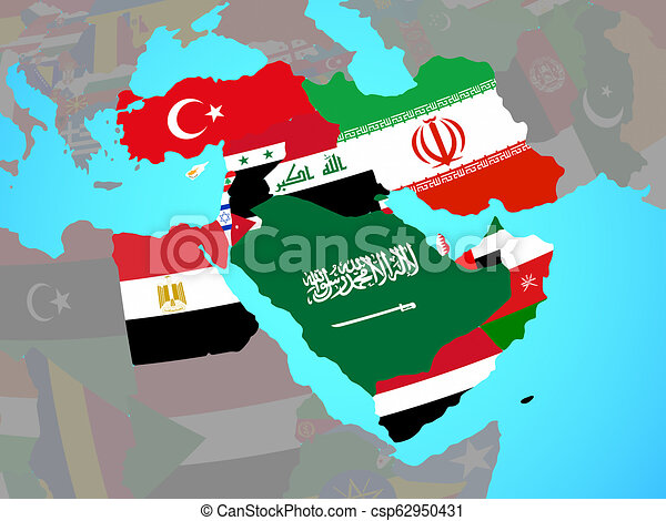 Middle East with flags on map