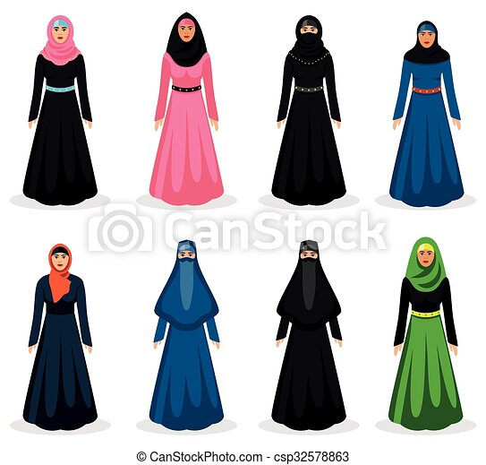 Middle eastern woman vector - csp32578863