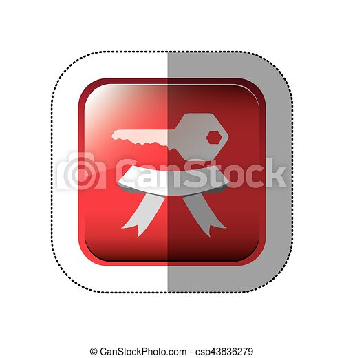 middle shadow sticker in red square with key and ribbon - csp43836279