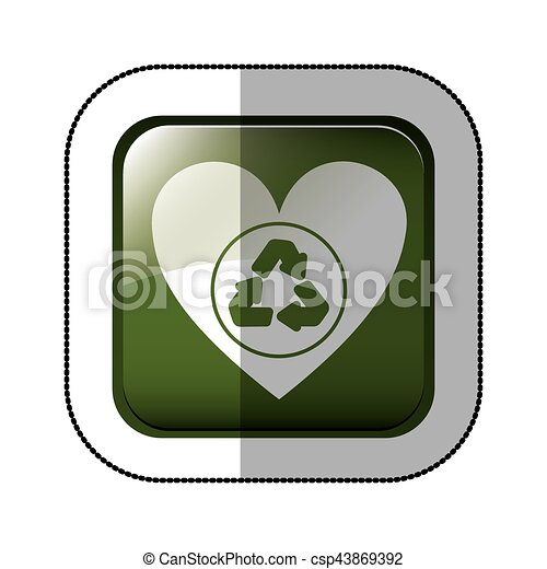 Middle Shadow Sticker Of Square Green With Heart With Eps Vectors