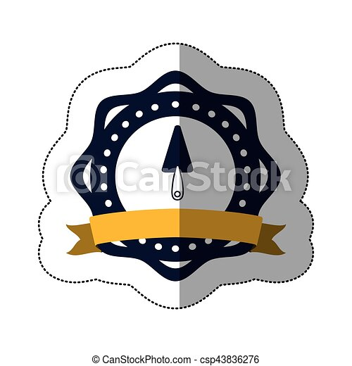Middle Shadow Sticker With Putty Knife In Circular Frame Vector