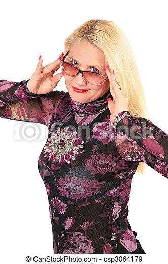 middleaged, affaires femme, lunettes - csp3064179