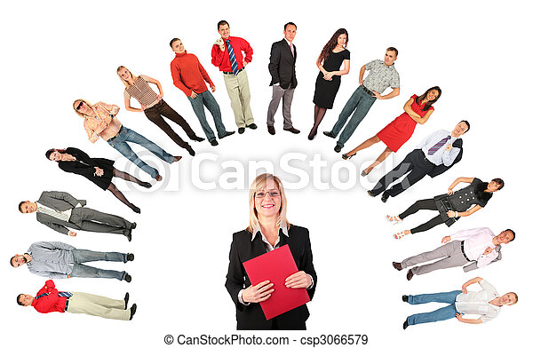 Middleaged businesswoman with red folder - csp3066579