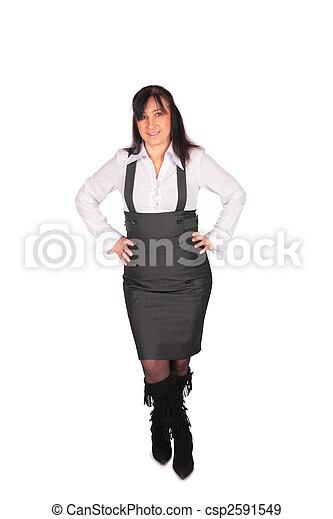 middleaged, femme, poser, salopette - csp2591549
