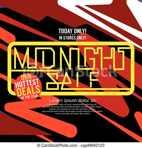 Midnight Sale Hottest Deal Square Banner For Advertising Marketing Promotional Vector Illustration - csp49942123