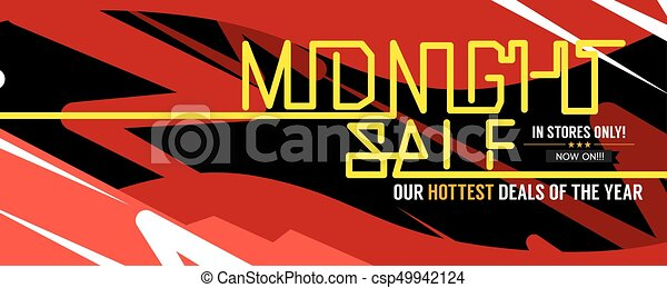 Midnight Sale Hottest Deal Wide Banner For Advertising Marketing Promotional Vector Illustration - csp49942124