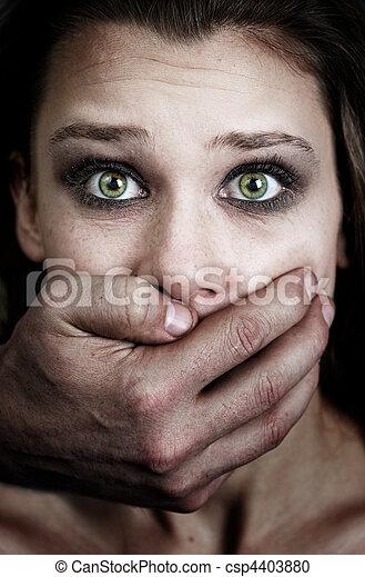 miedo, mujer, doméstico, víctima, violencia - csp4403880