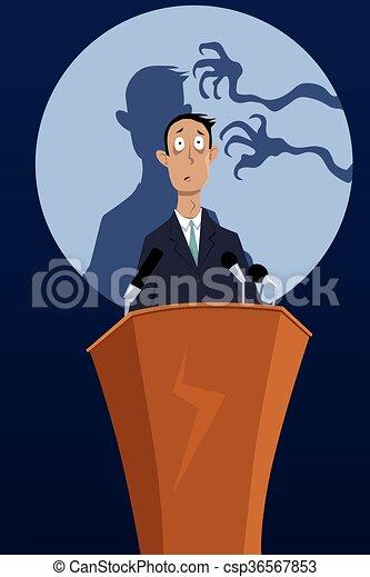 Miedo a hablar en público. Manos espeluznantes alcanzando ...