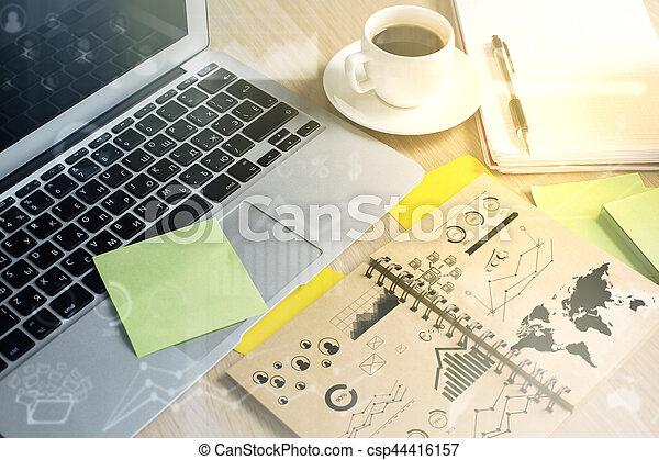 miejsce pracy, handlowy, wykresy - csp44416157