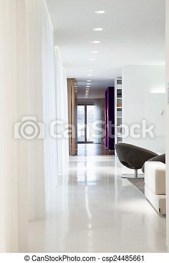 miejsce zamieszkania, wnętrze, elegancki, projektowany, wewnętrzny, obszerny - csp24485661