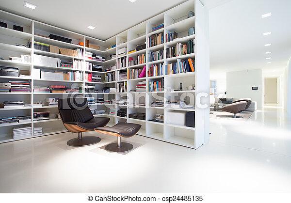 miejsce zamieszkania, wnętrze, kosztowny, nowoczesny, biblioteka - csp24485135