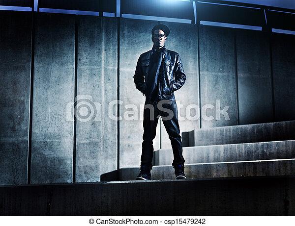 miejski, distopic, konkretny, amerykanka, kroki, afrykański człowiek, chłodny - csp15479242