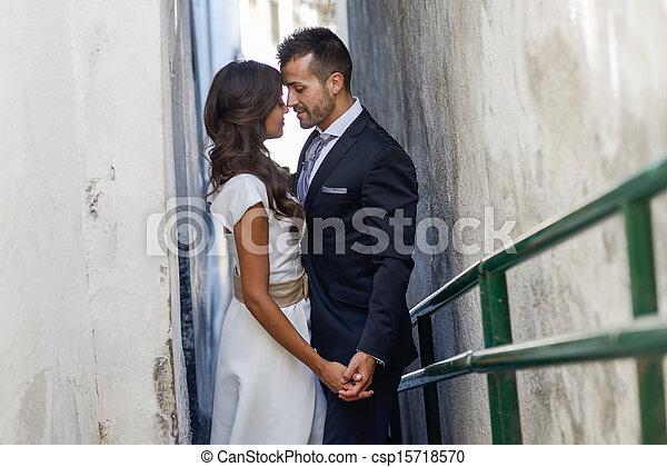miejski, para, żonaty, tło, właśnie - csp15718570