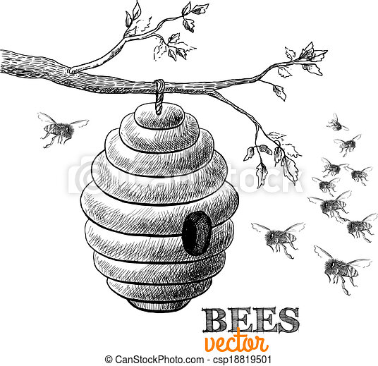 Miel abeilles branche arbre ruche vecteur arbre - Dessin de ruche d abeille ...