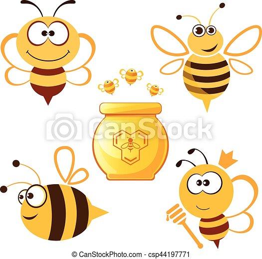 Curioso juego de abejas y miel - csp44197771