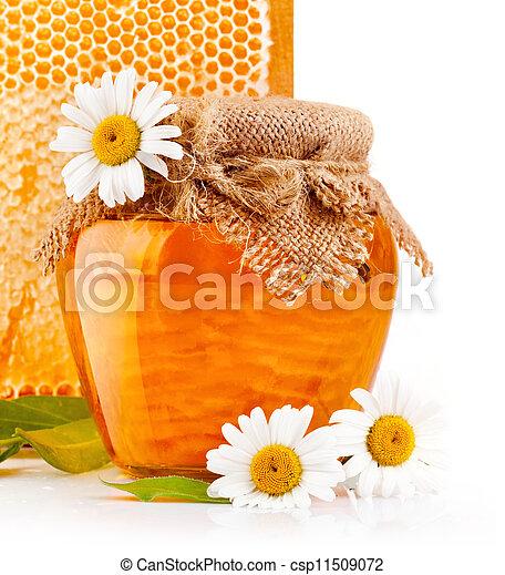 Dulce miel en tarros de cristal con flores - csp11509072