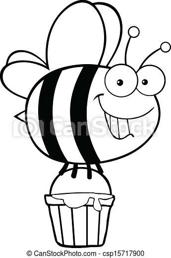 miel, esquissé, seau, abeille - csp15717900
