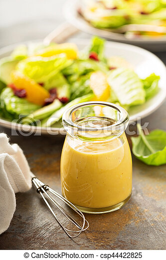 Miel Fait Maison Moutarde Vinaigrette Moutarde Salade Pot Miel Fait Maison Assaisonnement Canstock