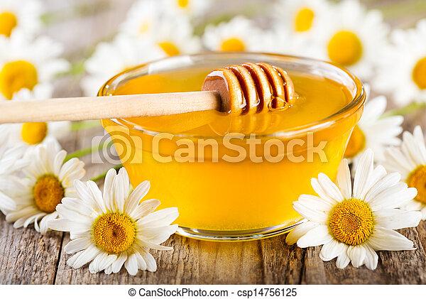 Un tazón de miel con flores de margarita - csp14756125