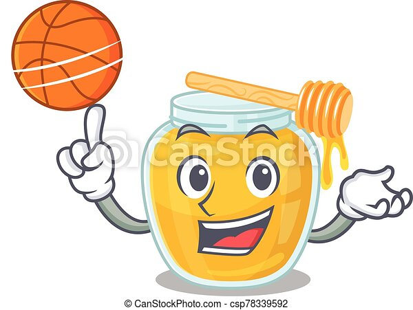 miel, juego, mascota, imagen, carácter, baloncesto, caricatura - csp78339592