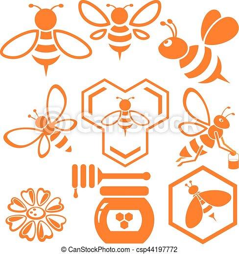 Vector de abeja y miel listo - csp44197772