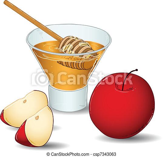 Rosh hahanah vaso de miel con manzanas - csp7343063