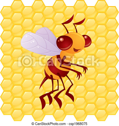 miele, favo, cartone animato, fondo, ape - csp1968075