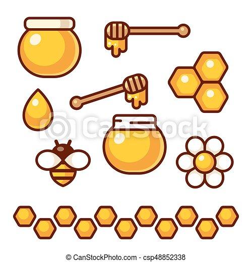 miele, set, icona - csp48852338