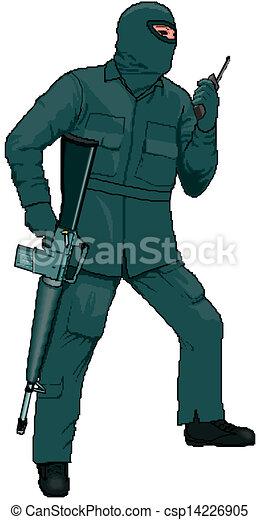 miembro, aplaste palmeta fusil, caricatura - csp14226905
