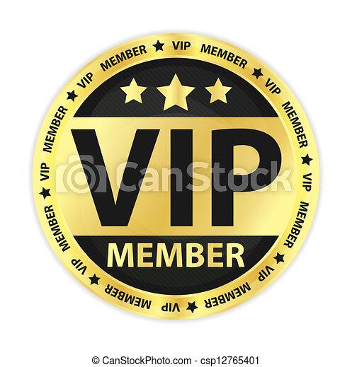 miembro, dorado, vip, etiqueta - csp12765401
