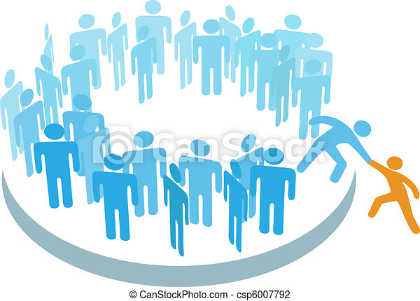 La gente ayuda a nuevos miembros a unirse a un gran grupo - csp6007792