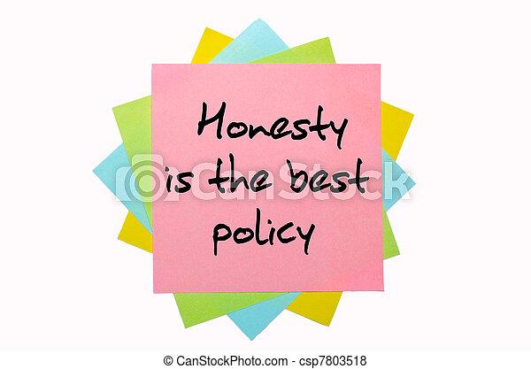 """mieux, main, collant, politique, honnêteté, """", tas, coloré, texte, police, notes, écrit - csp7803518"""
