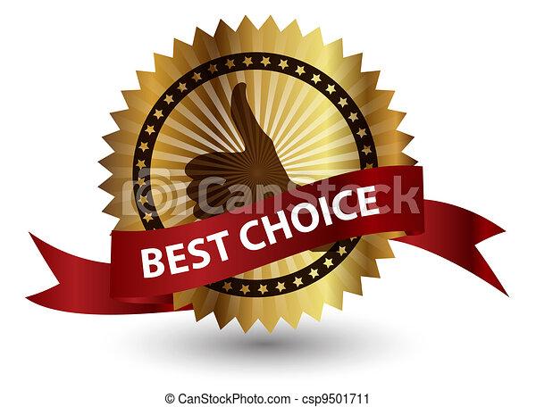 mieux, vecteur, ribbon., rouges, étiquette, choix - csp9501711