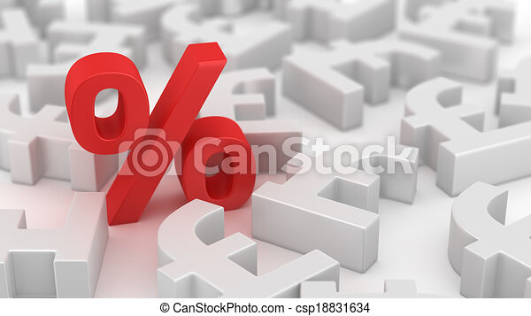 Mighty Percent Of Pounds Single Red Percent Symbol Among Many Pound