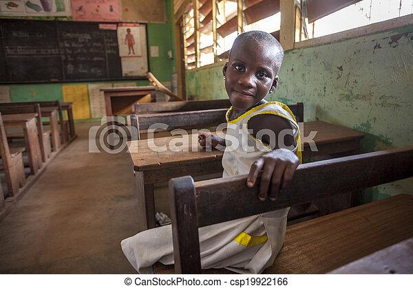 mignon, école, afrique, girl, elle - csp19922166