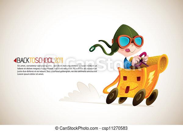 mignon, école, sien, garçon, série, sac à dos, dos, courses,   - csp11270583