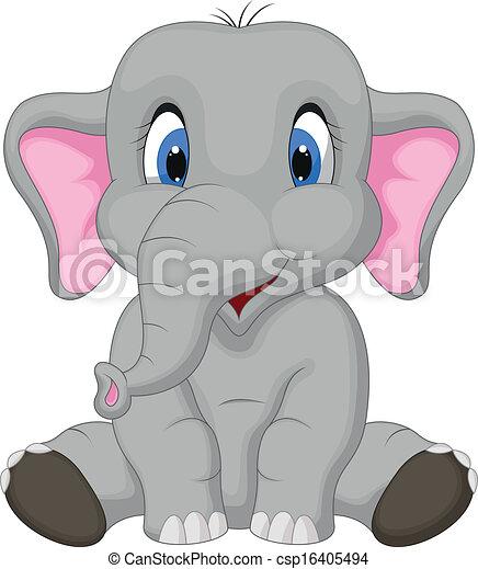 mignon, éléphant, dessin animé, séance - csp16405494