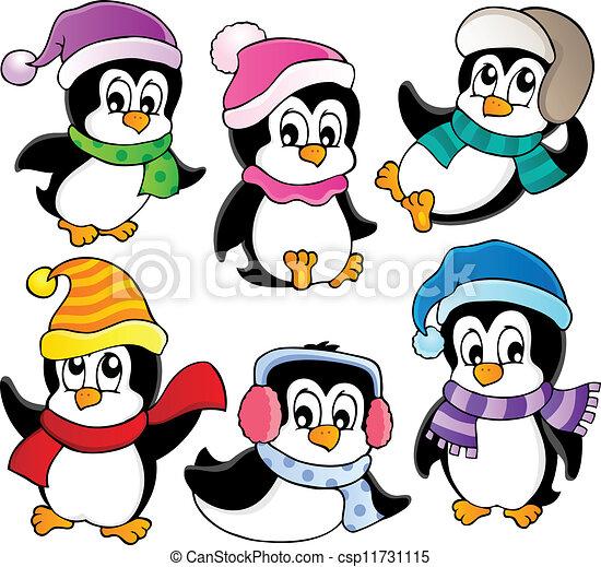 mignon, 3, pingouins, collection - csp11731115