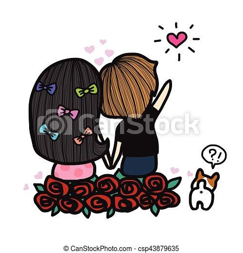 Dessin Amoureux Mignon mignon, amour, couple, illustration, regarder, étoile, dessin animé.