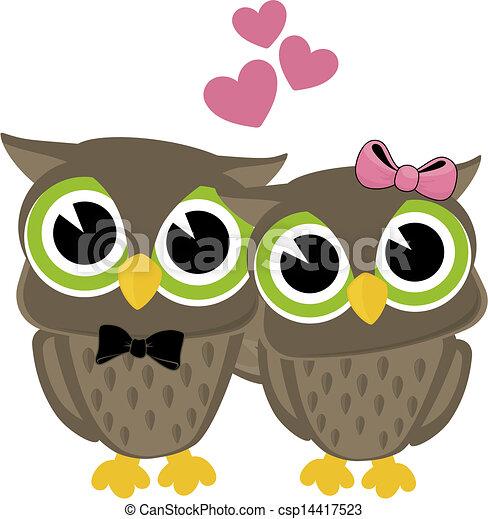 Dessin Amoureux Mignon mignon, amour, hiboux. mignon, amour, isolé, hiboux, fond, blanc.